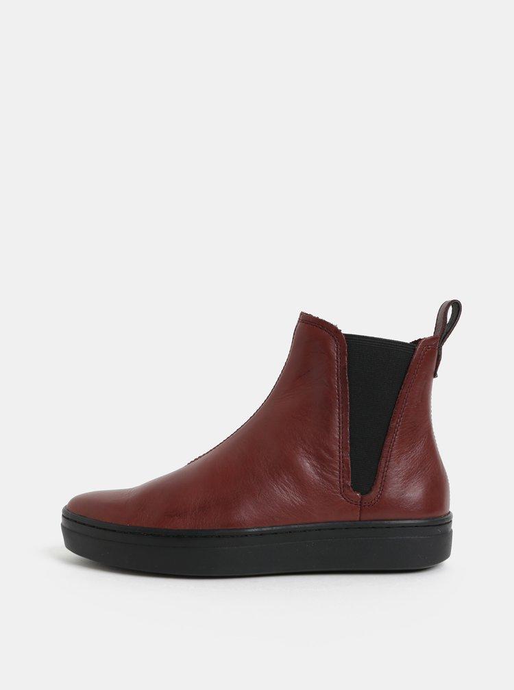 Vínové dámské kožené chelsea boty Vagabond Camille