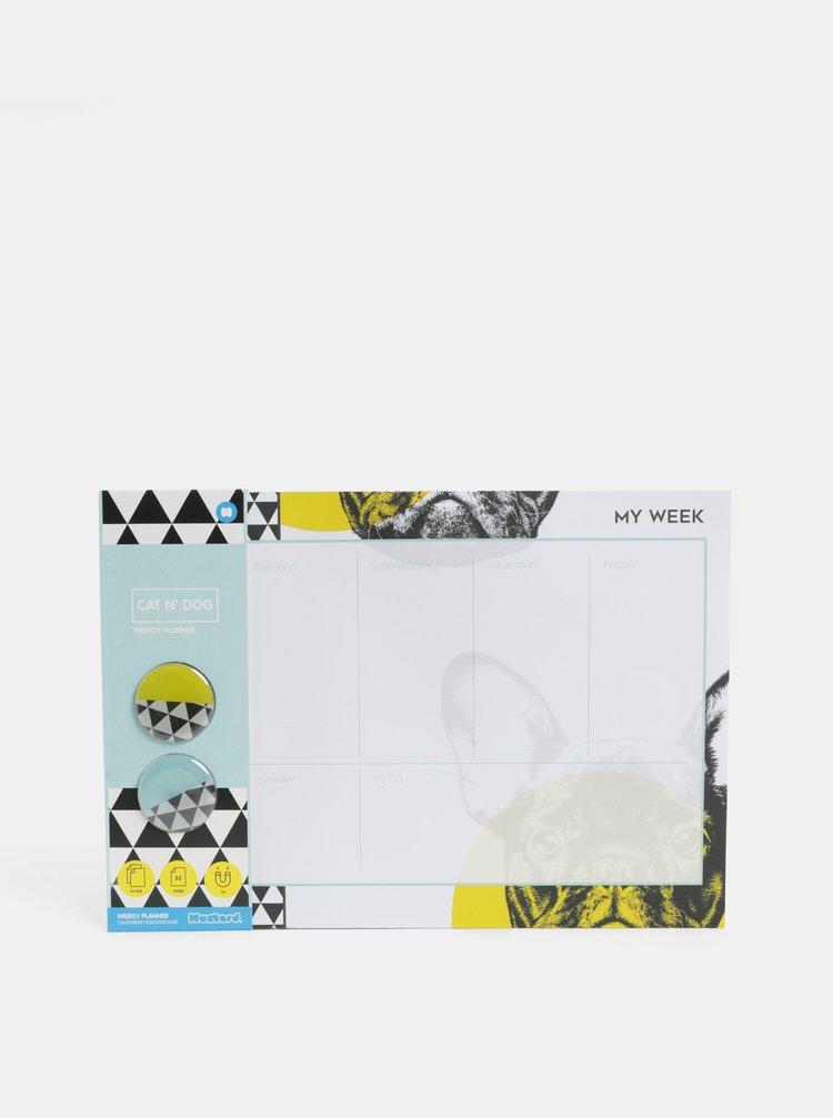 Černo-bílý plánovací blok A4 s motivem psů a se dvěma magnety Mustard