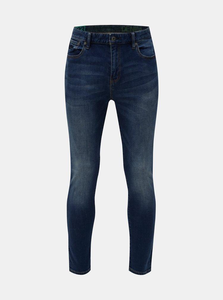 Modré pánské zkrácené slim fit džíny Superdry Tyler