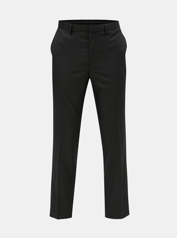 Tmavě šedé společenské kalhoty s drobným vzorem Burton Menswear London