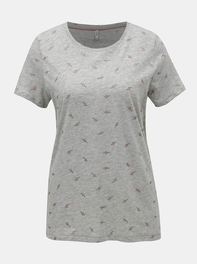 Šedé žíhané tričko s potiskem ONLY Bone