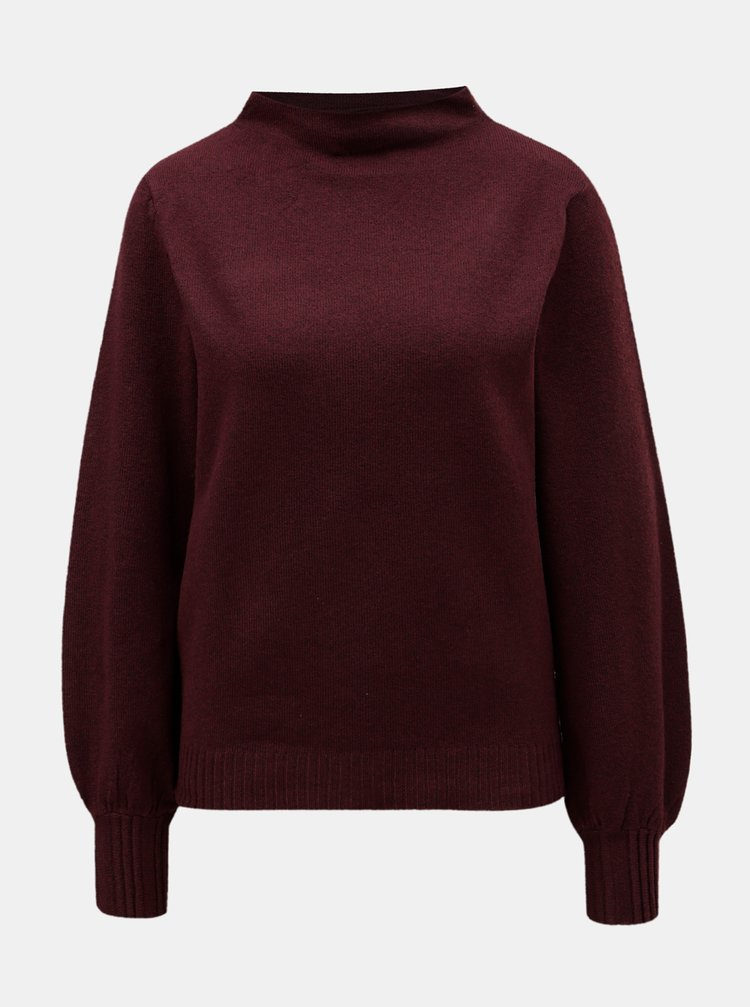 Vínový sveter so stojačikom VILA Ripley