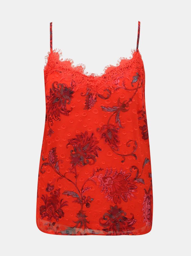 Červený květovaný top s krajkou ONLY Celine