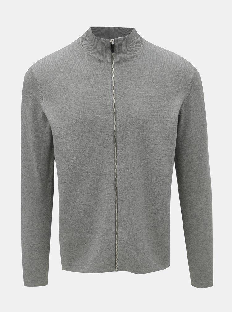 Cardigan gri deschis cu fermoar Burton Menswear London