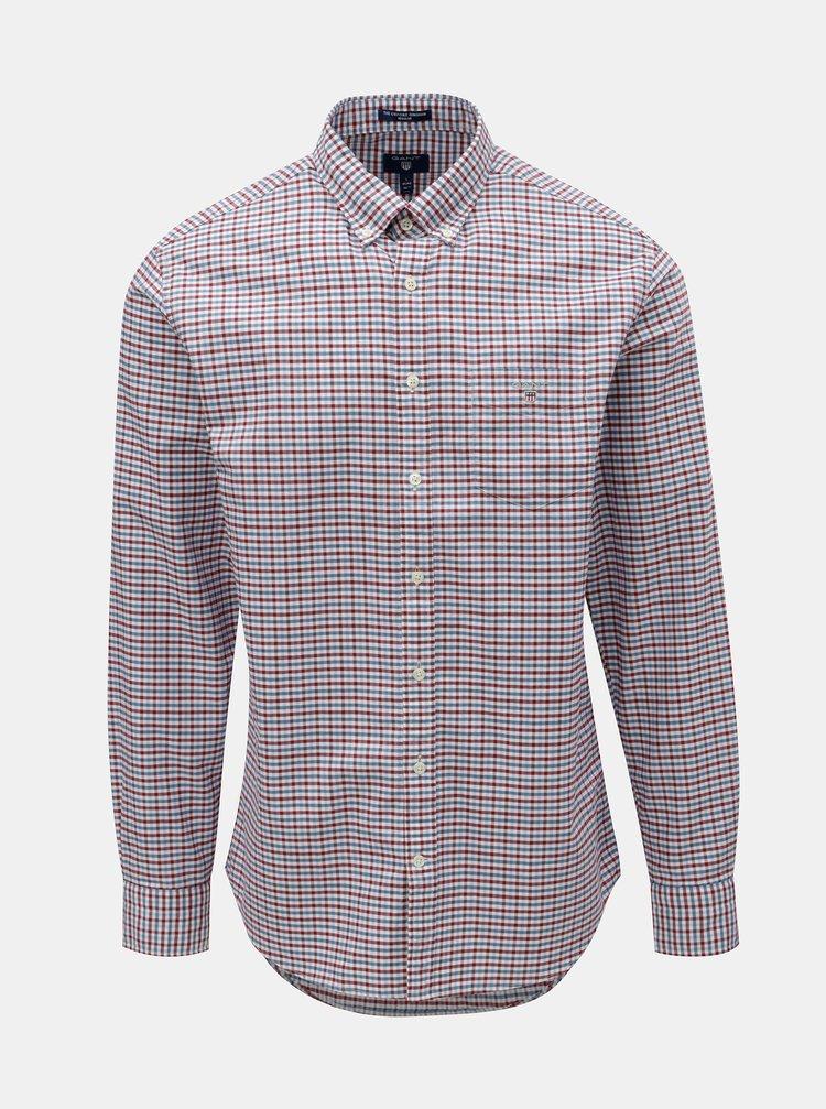 Červeno-modrá pánská kostkovaná regular fit košile s výšivkou GANT ... 2b7b37570b