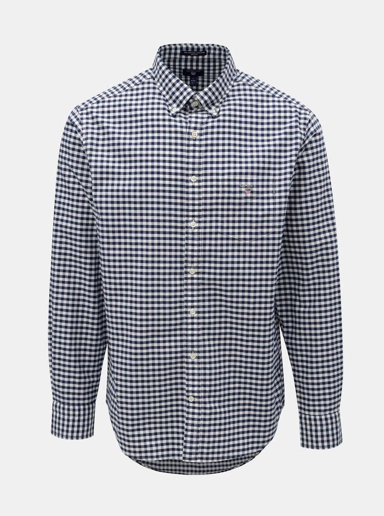 Bílo-modrá pánská kostkovaná regular fit košile s výšivkou GANT