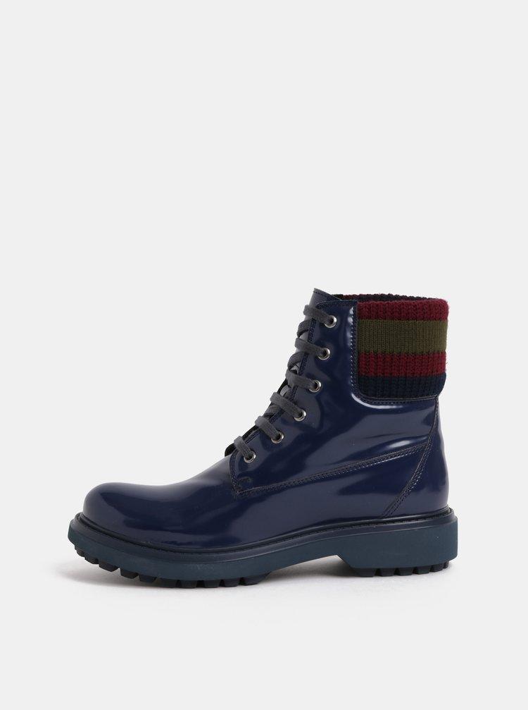 Tmavě modré dámské kotníkové boty s úpletovým lemem Geox Asheely