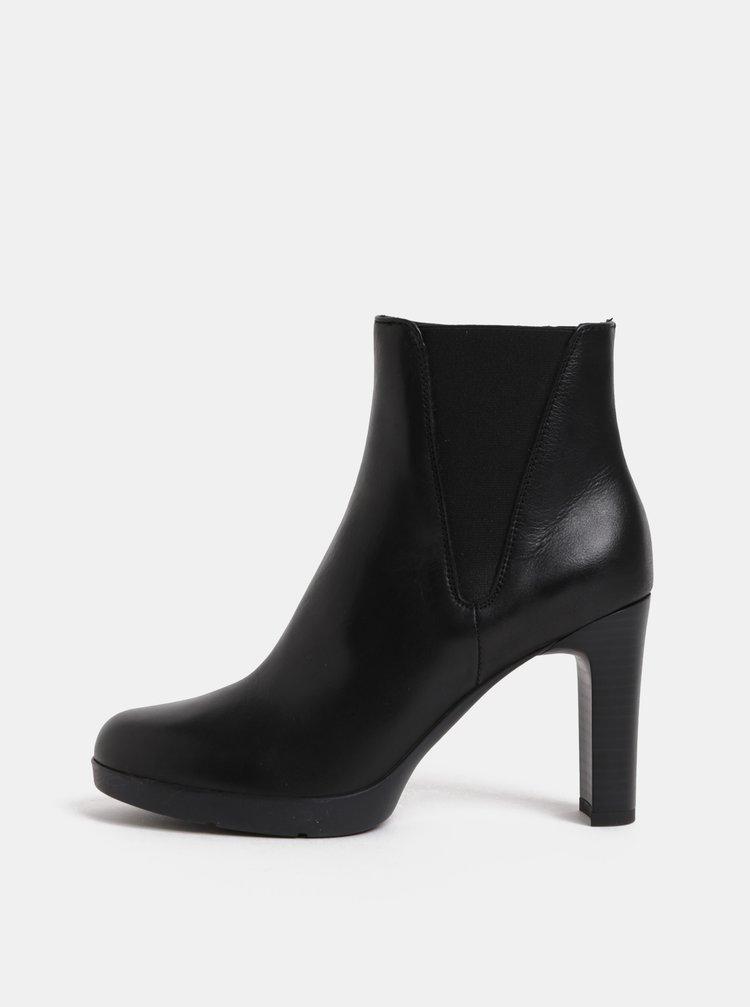 Čierne dámske kožené členkové topánky na vysokom podpätku Geox Annya ... 74d24e6fb66
