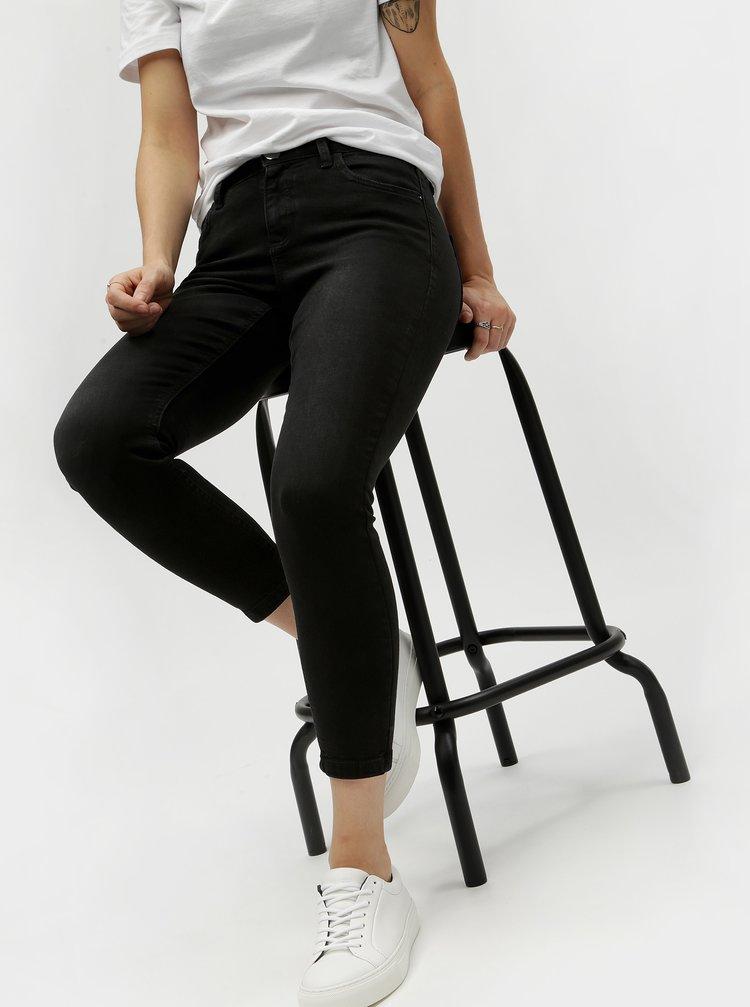 Černé zkrácené skinny džíny Dorothy Perkins Petite Darcy