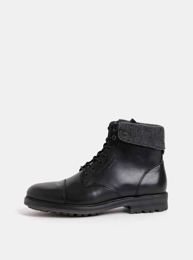 Černé pánské kožené kotníkové zimní boty GANT Nobel