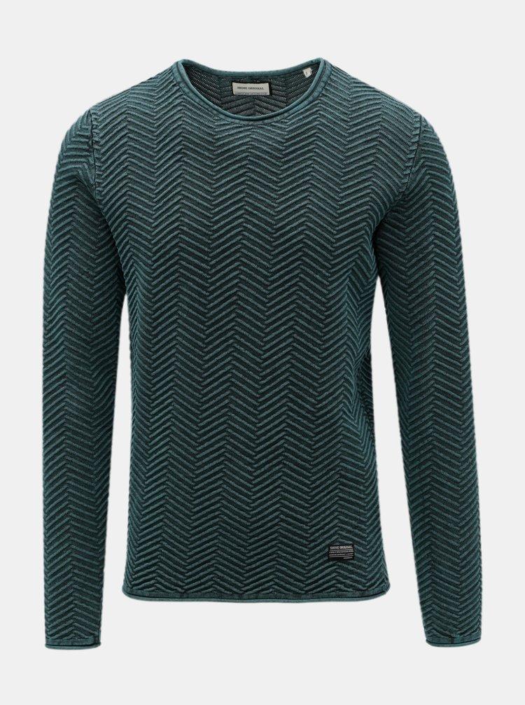Zelený vzorovaný svetr s kulatým výstřihem Shine Original