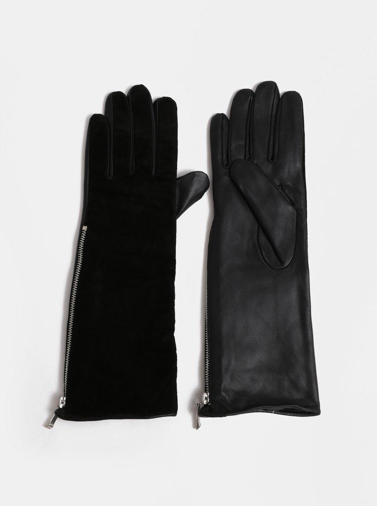 Černé semišové rukavice Pieces Kip