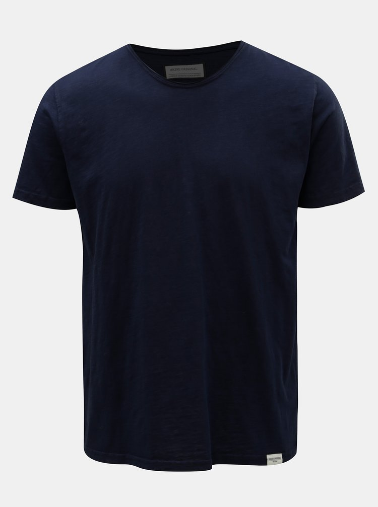 Tricou albastru inchis cu maneci scurte Shine Original