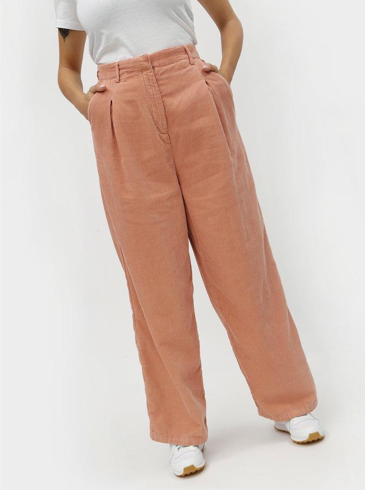 Pantaloni de dama roz lejeri din material reiat cu talie inalta Kings of Indigo Maxima