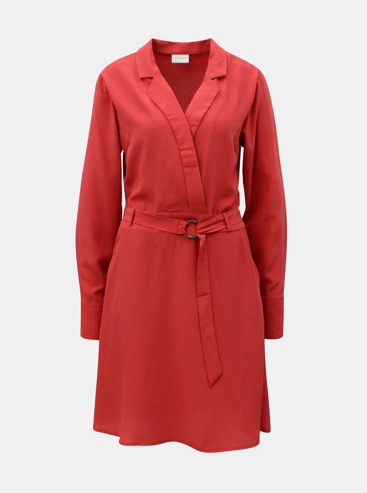 Červené šaty s páskem VILA Viadena