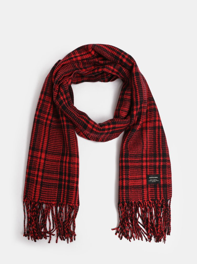 Fular negru-rosu tartan Jack & Jones Checked