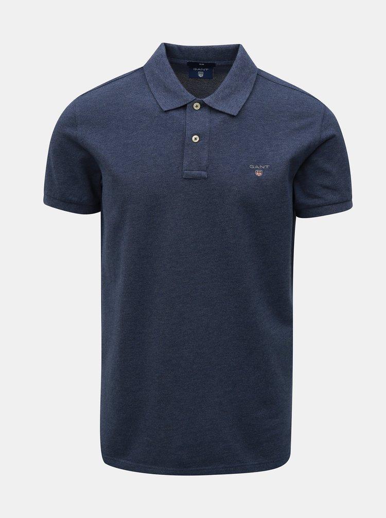 Modré pánské basic polo tričko s vyšitým logem GANT