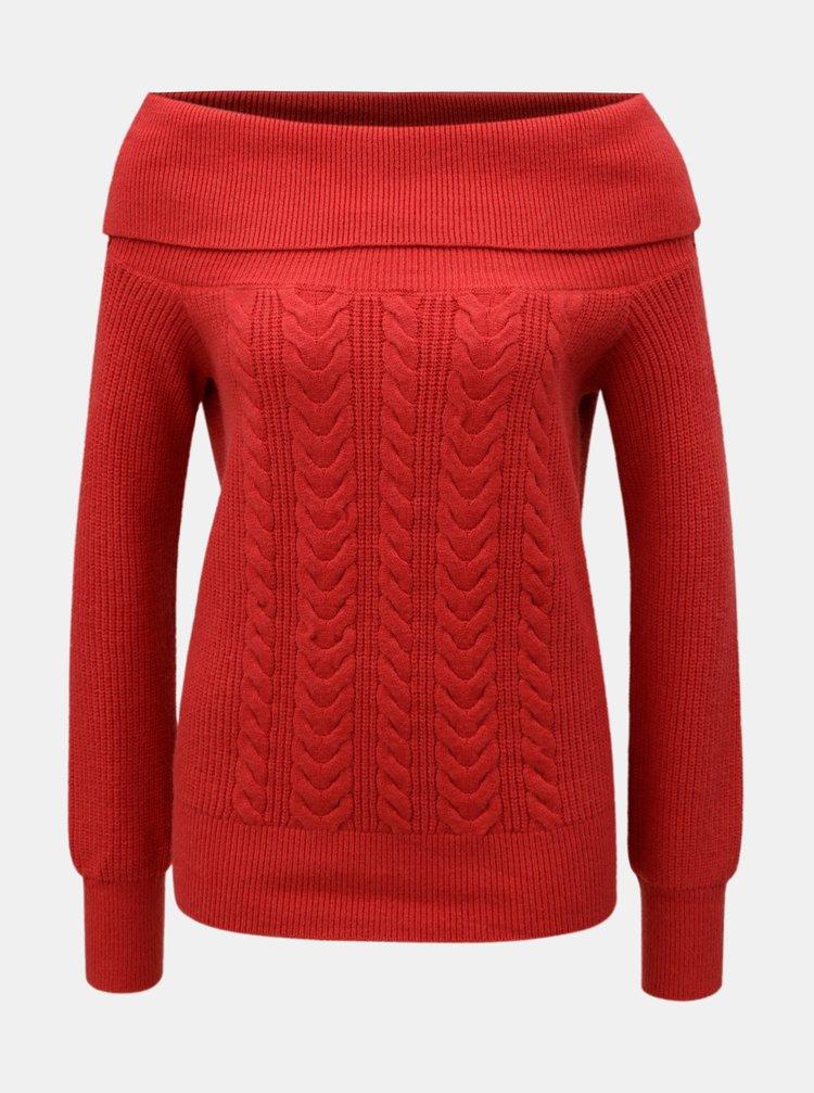 Červený svetr s plastickým vzorem VERO MODA Jina