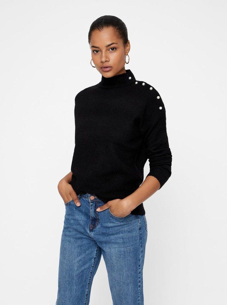 Čierny sveter s gombíkmi v tvare perál VERO MODA Lagoura