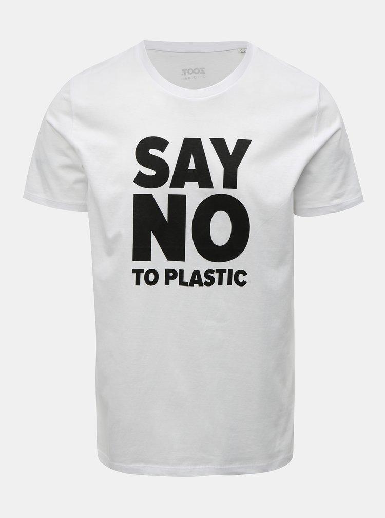 Biele pánske tričko s potlačou ZOOT Original Say no to plastic