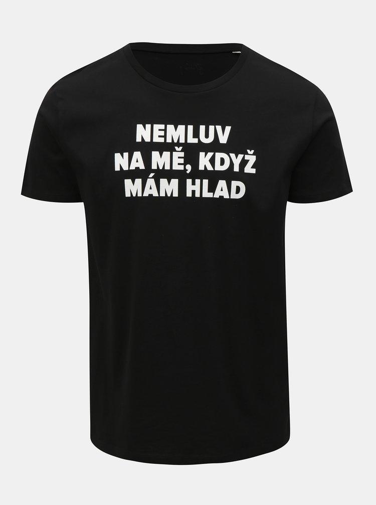 Černé pánské tričko s potiskem ZOOT Original Hlad