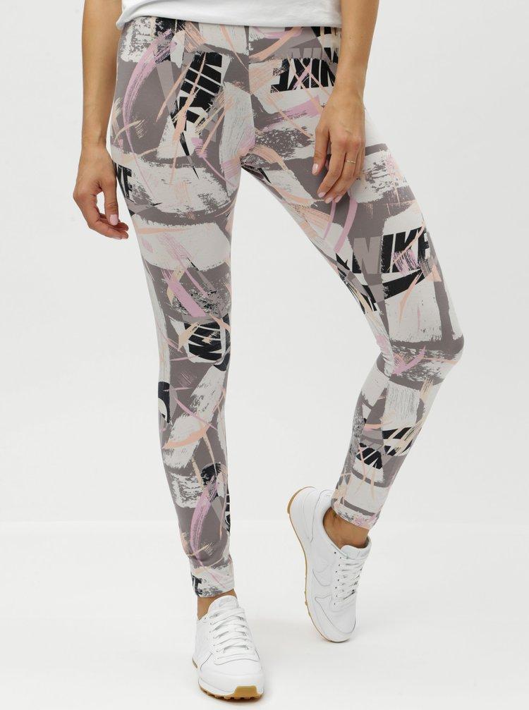 Krémovo-šedé dámské vzorované tight fit legíny Nike