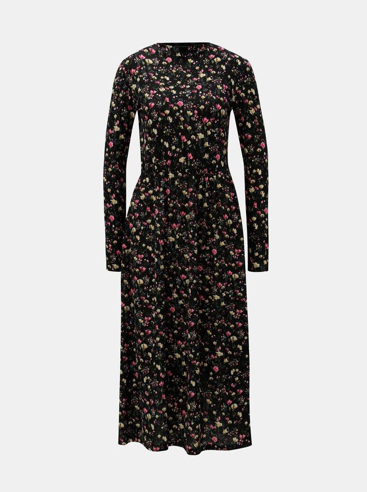 Rochie midi neagra florala cu banda elastica in talie Jacqueline de Yong