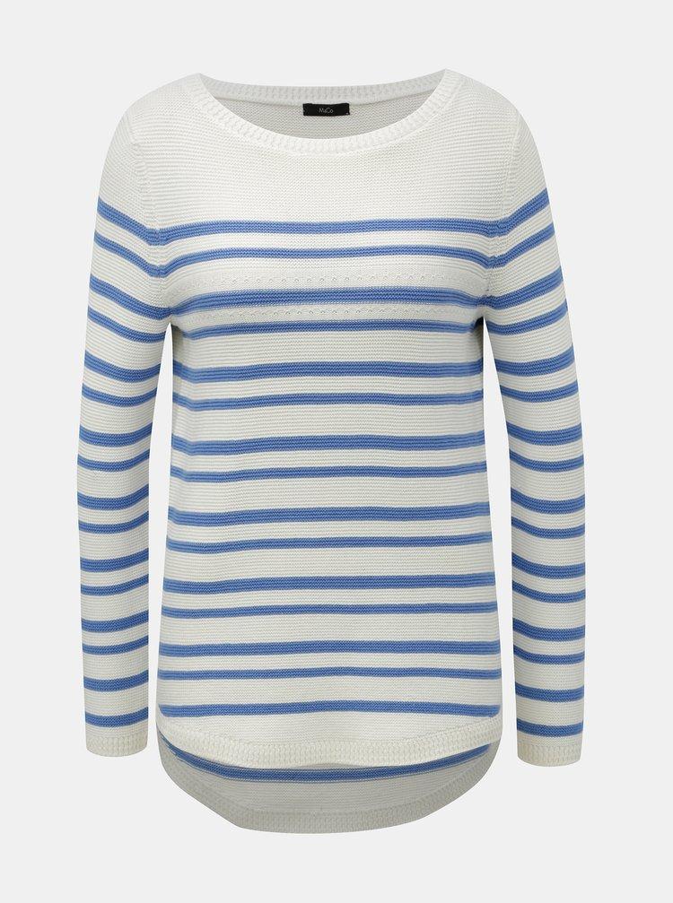 Modro–biely pruhovaný sveter M&Co