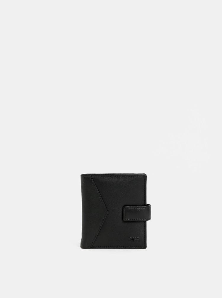 Čierna kožená prešívaná peňaženka Dice