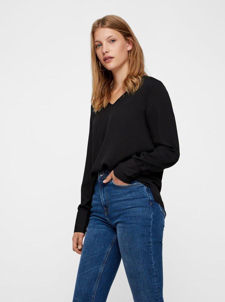 Bluza neagra cu nasturi pe maneci VERO MODA