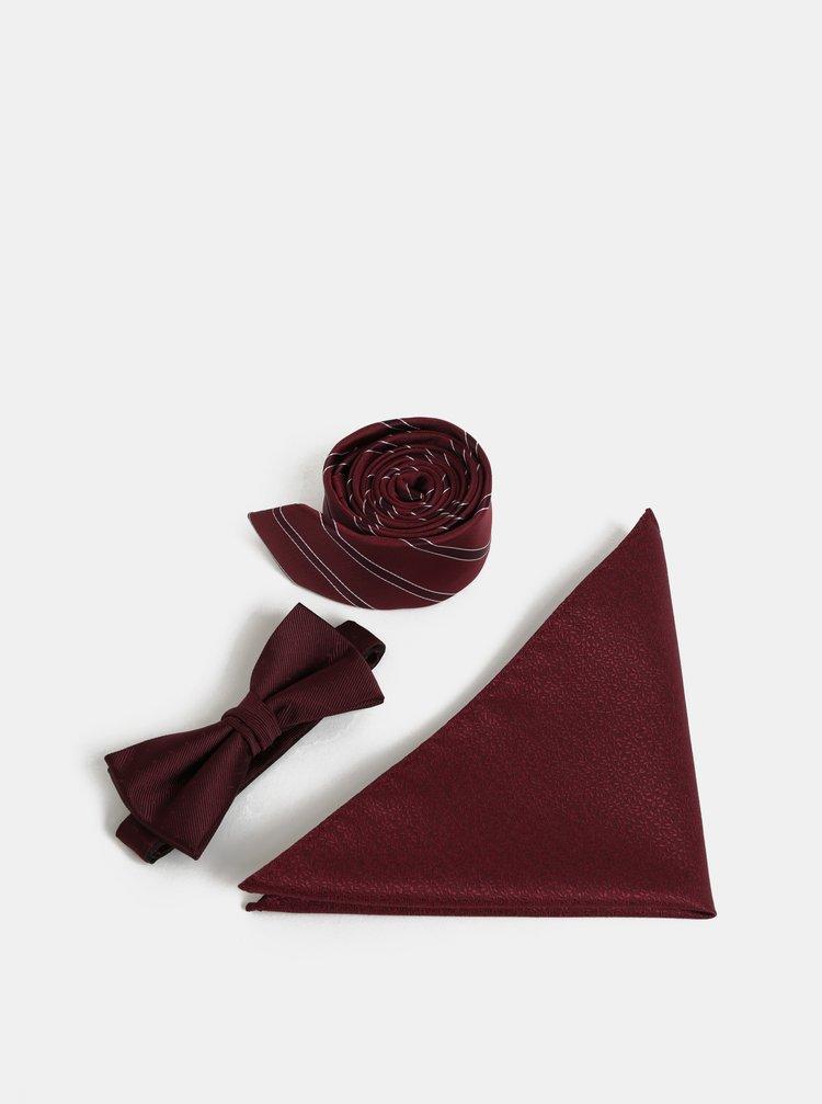 Dárková sada slim kravaty, motýlka a kapesníčku ve vínové barvě Jack & Jones Necktie