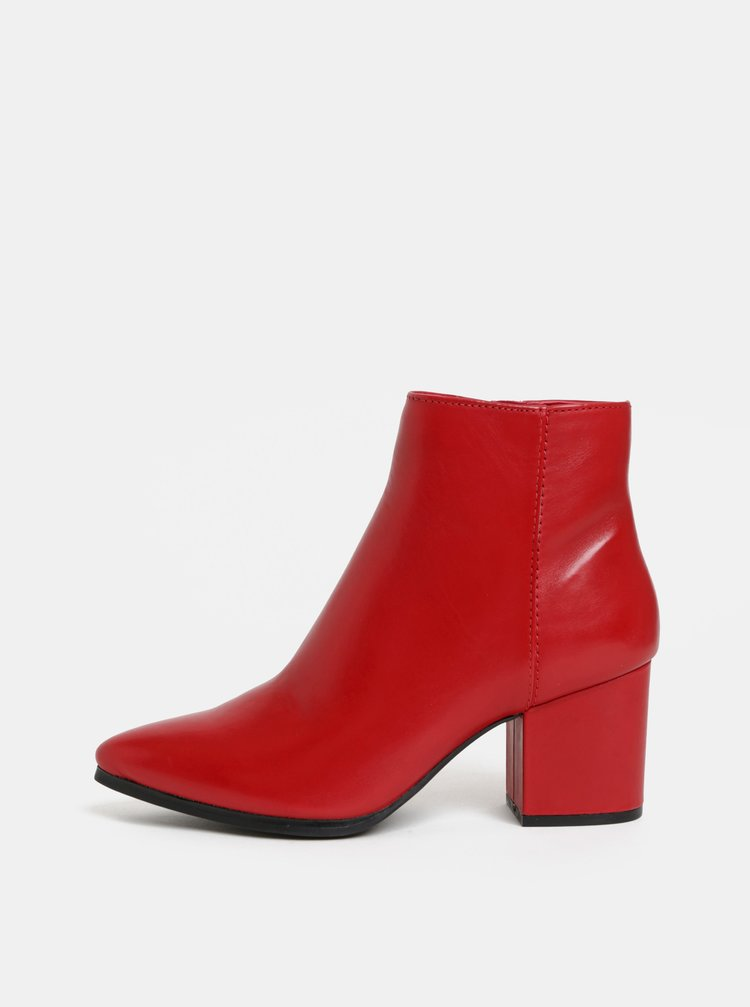 Červené dámske kožené členkové topánky ALDO Fralissi