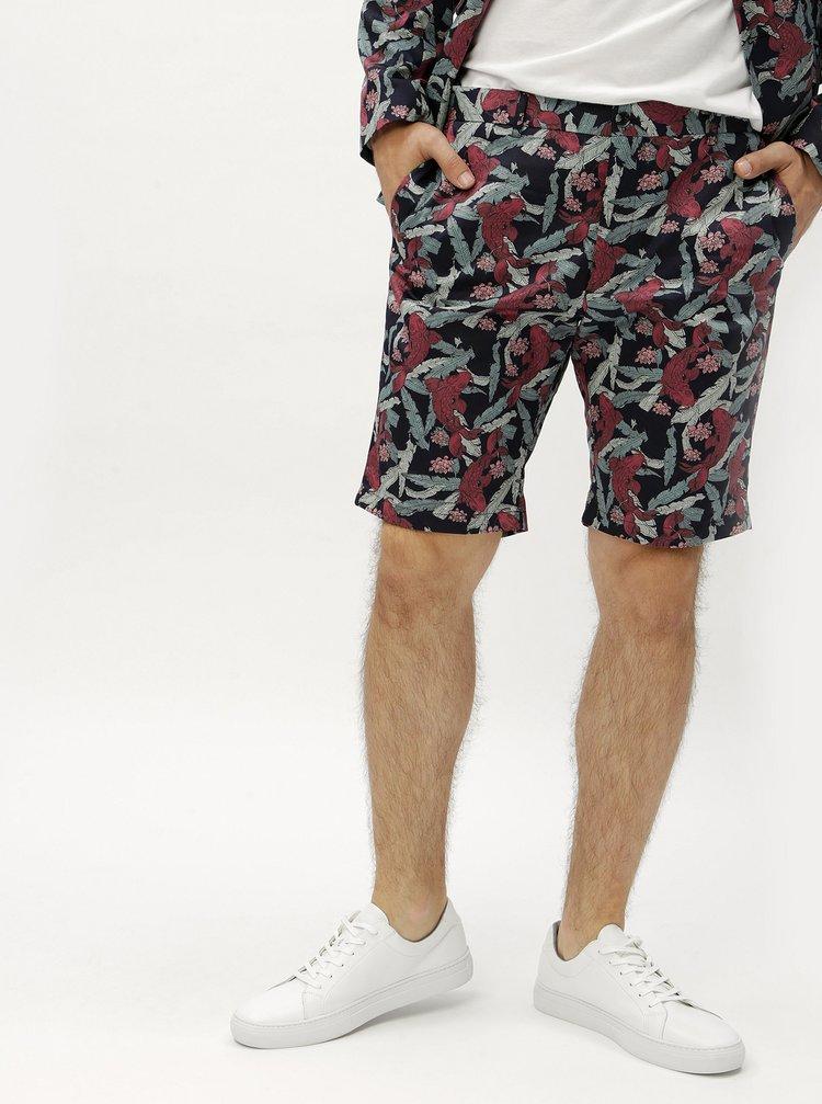 Pantaloni scurtivisiniu-albastru cu model Jack & Jones Hans