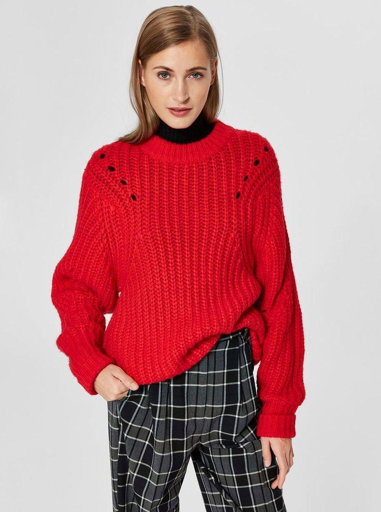 Červený oversize sveter s prímesou vlny Selected Femme Ginna