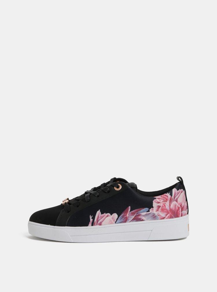Ružovo–čierne dámske kvetované tenisky Ted Baker