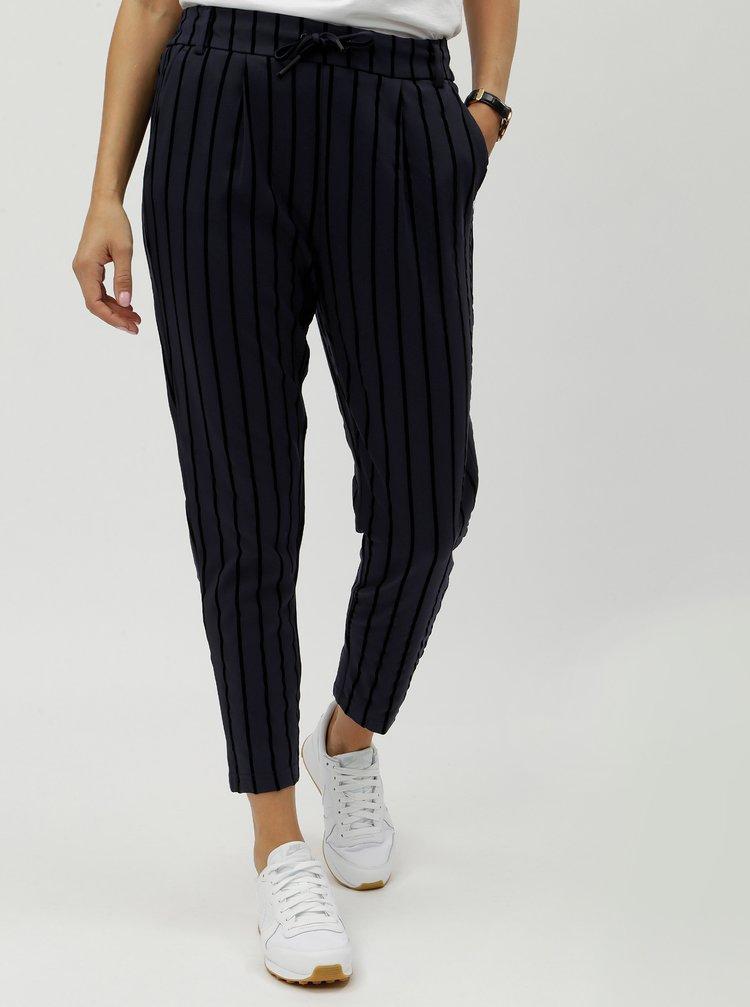 Černo-modré pruhované kalhoty ONLY Poptrash