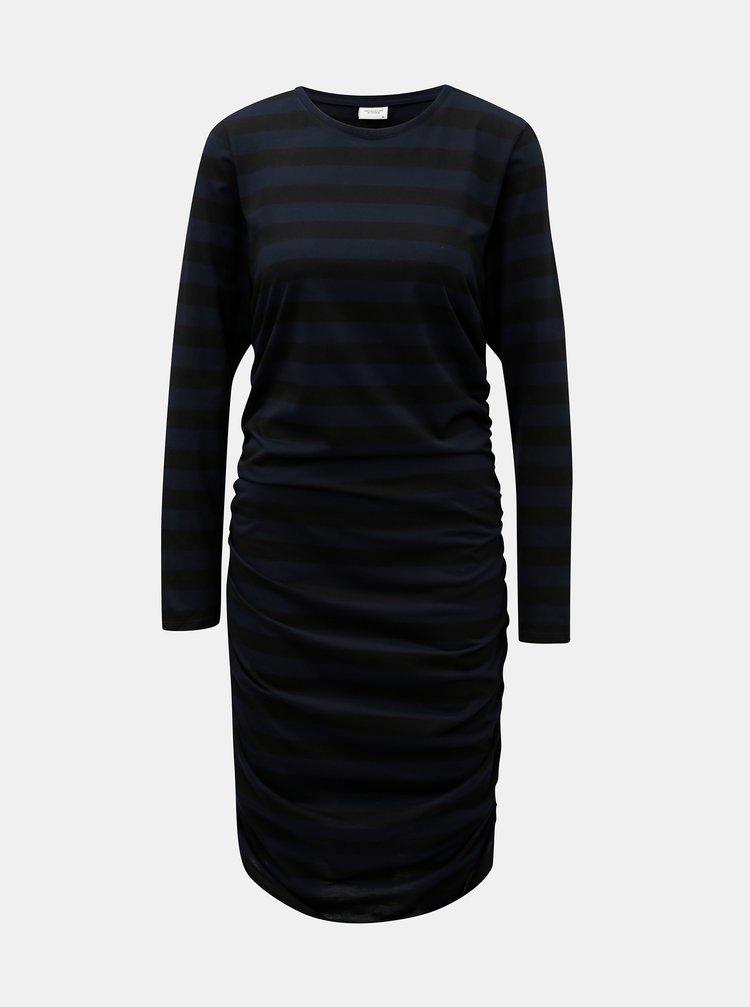 Rochie negru-albastru in dungi cu pliuri laterale Jacqueline de Yong Rosa