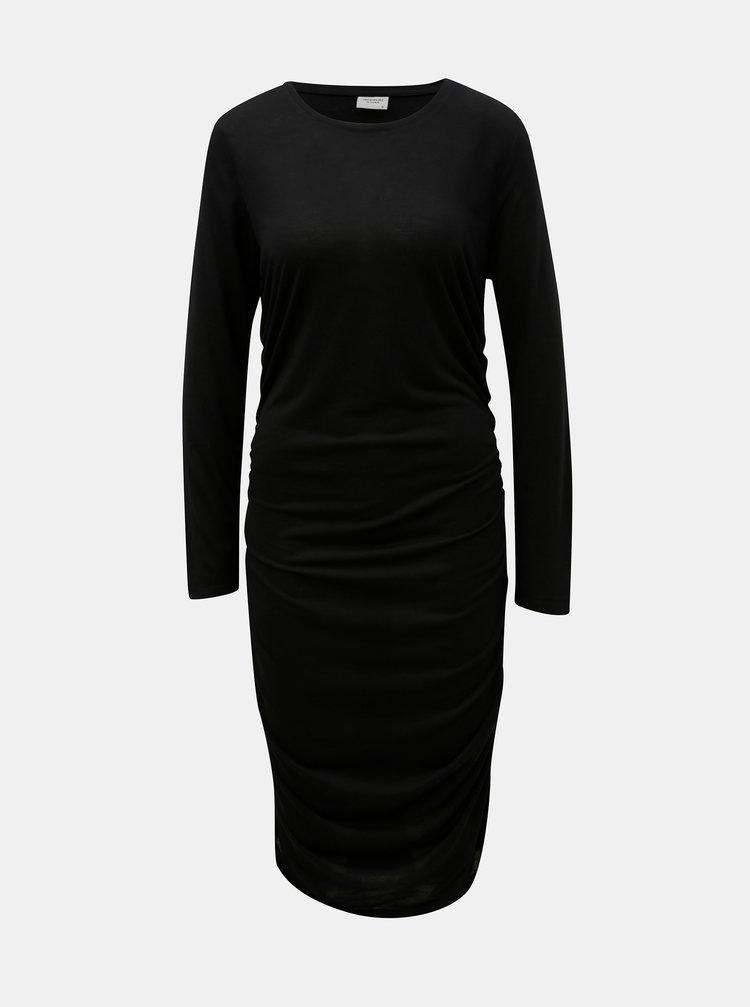 Černé šaty s řasením na bocích Jacqueline de Yong Rosa