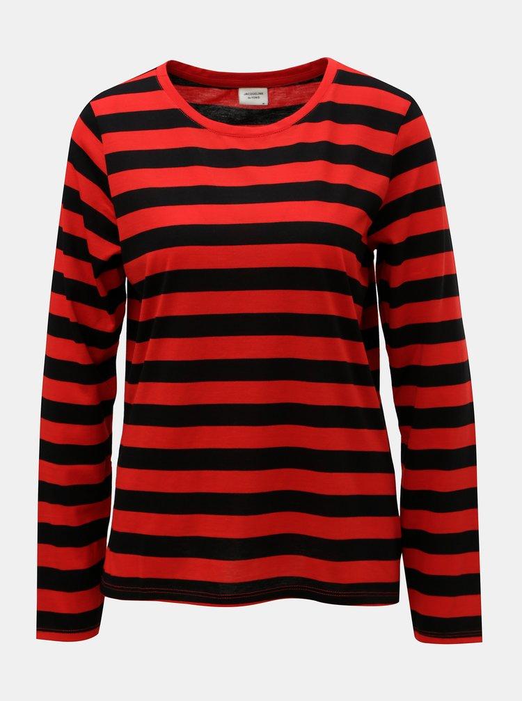 Čierno–červené pruhované basic tričko Jacqueline de Yong Rosa