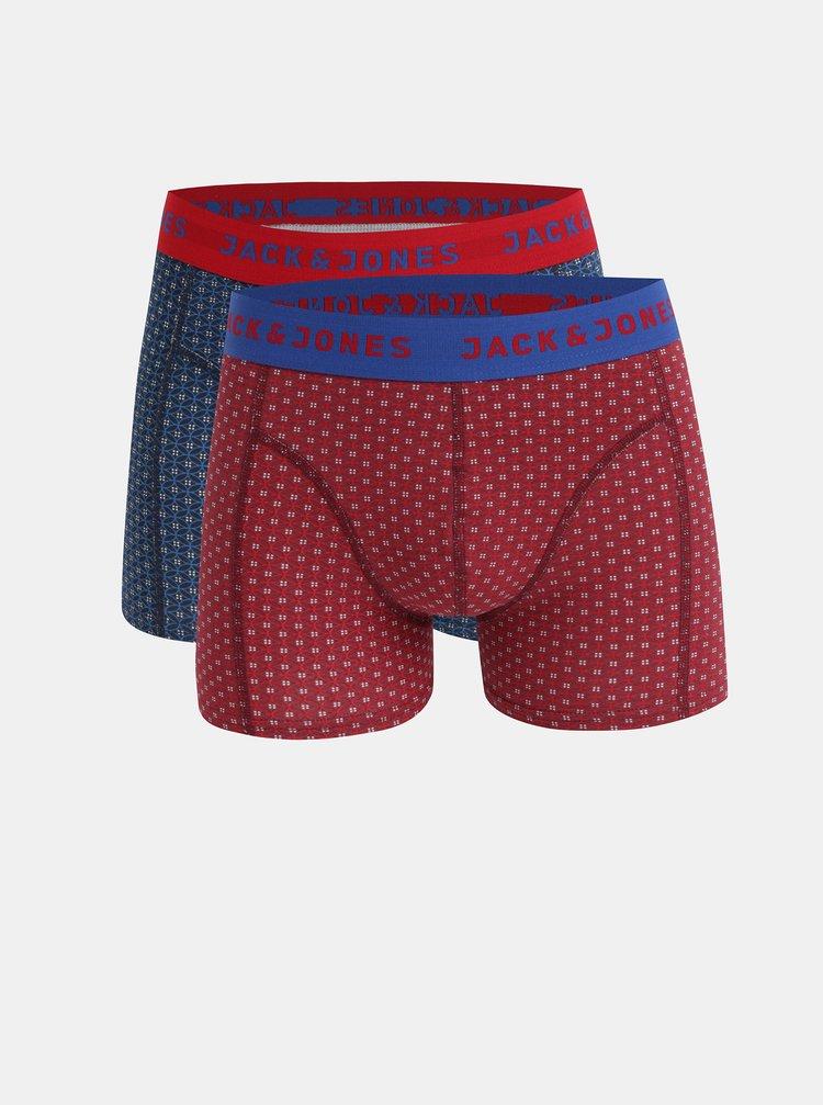 Sada dvou vzorovaných boxerek v červené a modré barvě v dárkovém balení Jack & Jones Holiday