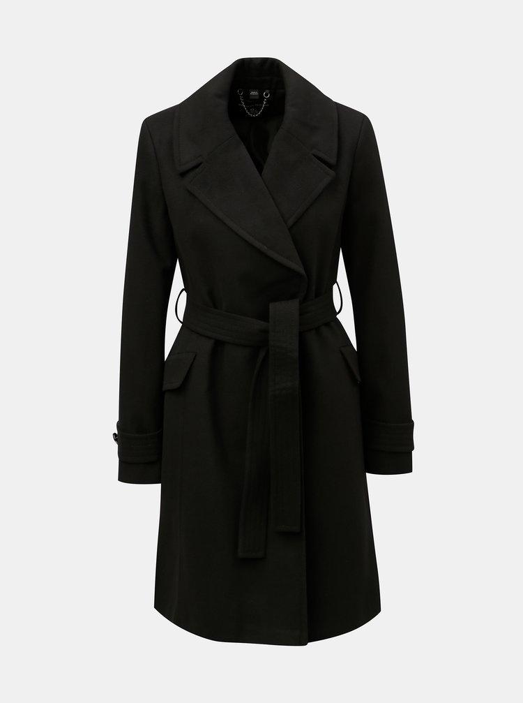 Černý lehký kabát s páskem Dorothy Perkins