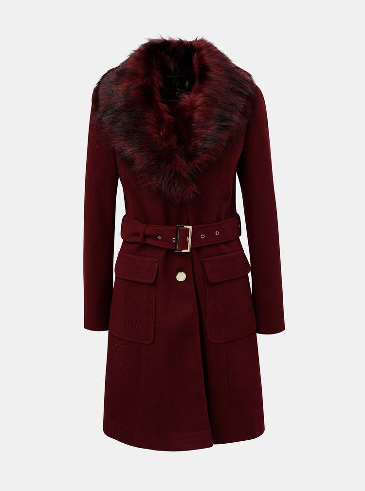 Vínový manšestrový kabát s odnímatelným umělým kožíškem Dorothy Perkins