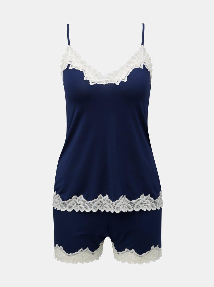Tmavě modré dvoudílné krajkové pyžamo Eldar Aria