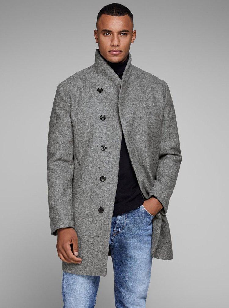 Šedý žíhaný vlněný kabát Jack & Jones Newgotham
