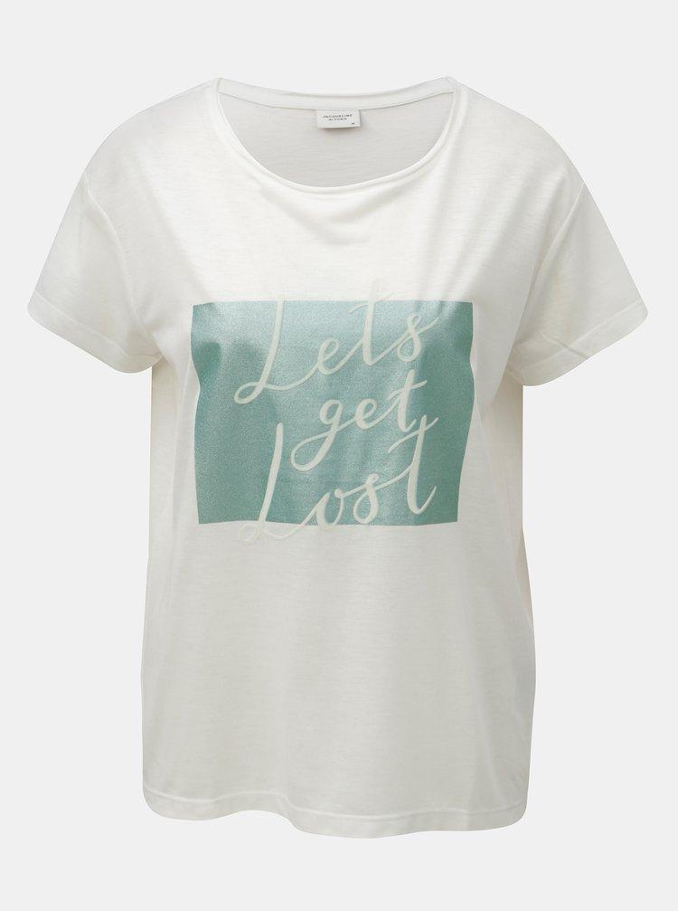 Tricou alb cu imprimeu si inscriptie cu aspect de piele intoarsa Jacqueline de Yong Roa