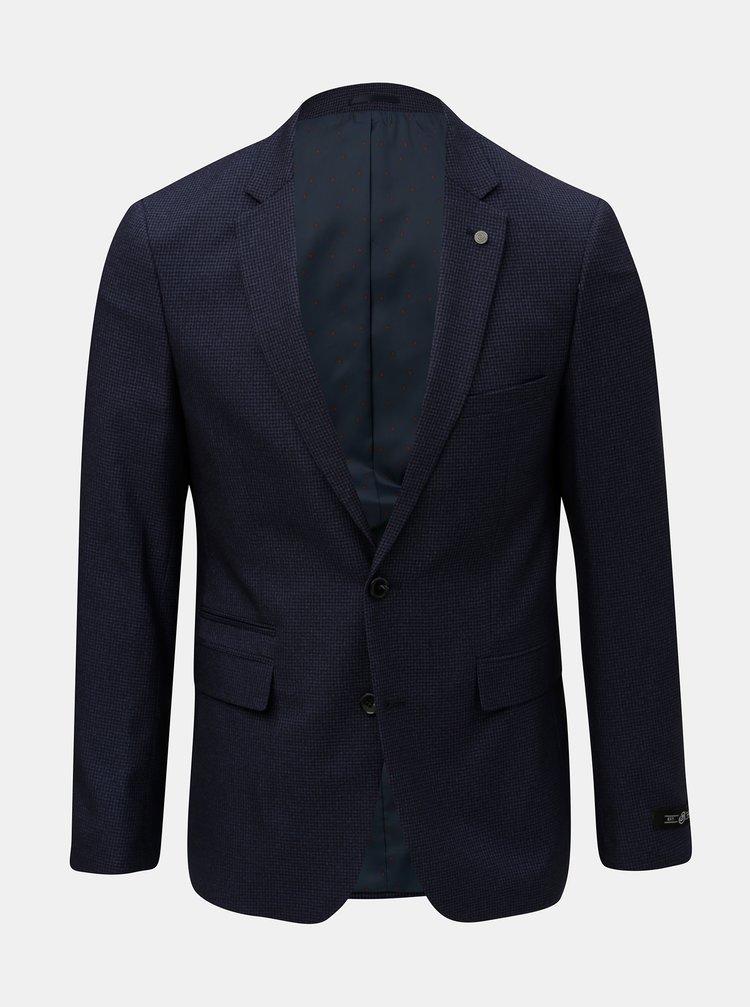 Tmavě modré kostkované oblekové slim fit sako Burton Menswear London Puppytooth