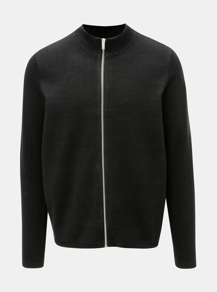 Čierny sveter na zips Burton Menswear London