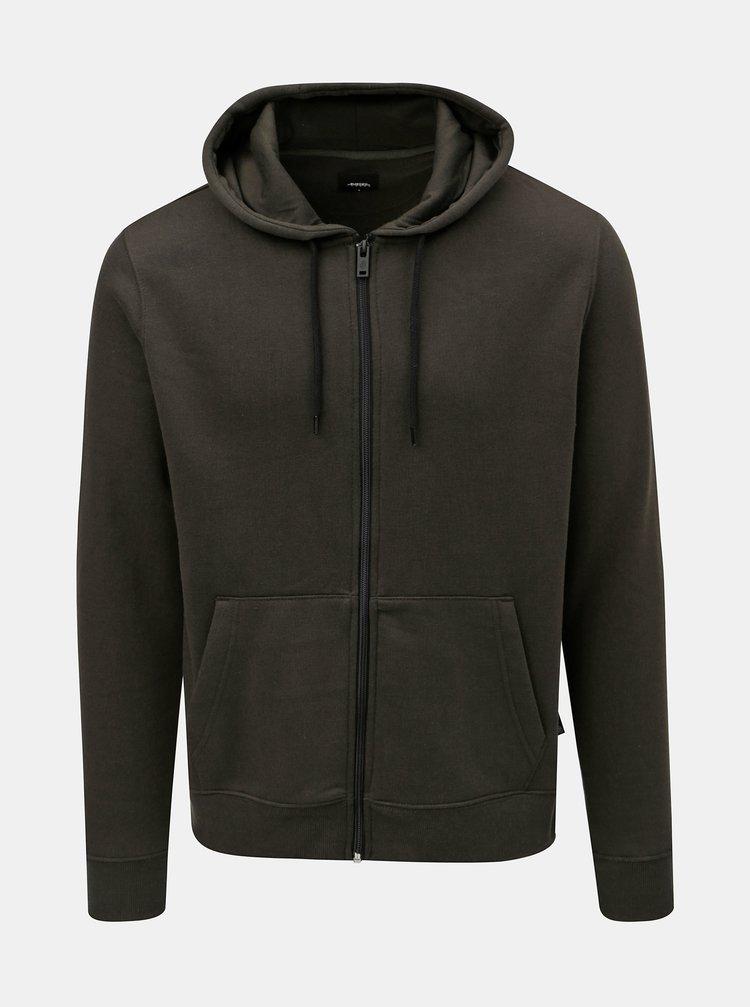Khaki basic mikina s kapucí na zip Burton Menswear London