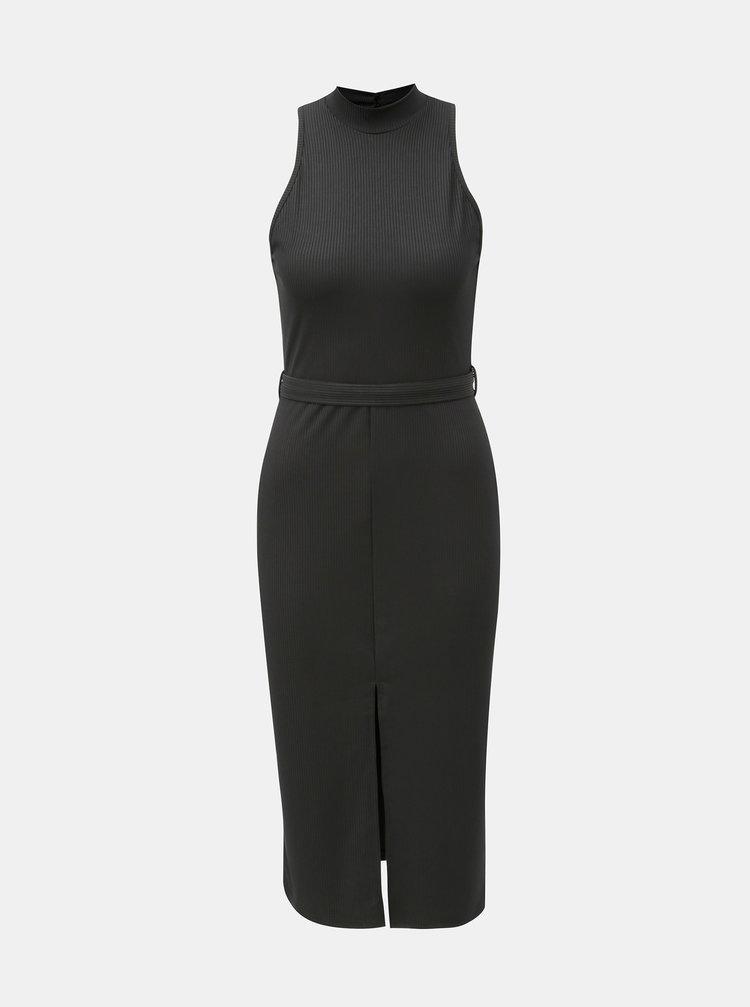 Černé pouzdrové šaty s páskem a rozparkem Miss Selfridge