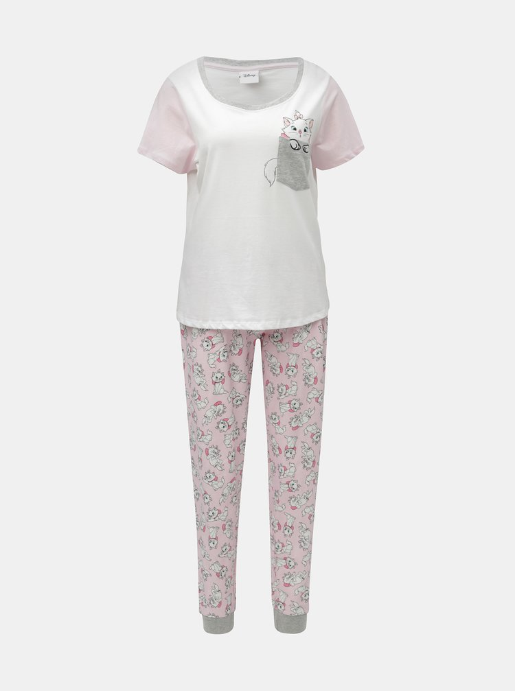 Růžovo-bílé dvoudílné pyžamo s motivem koček Dorothy Perkins Disney